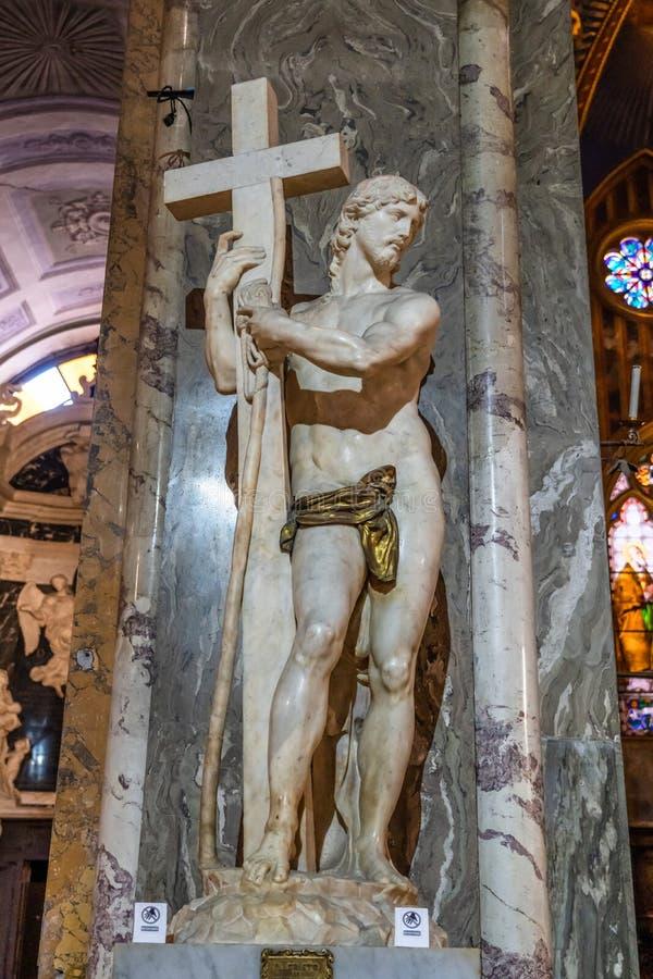 Wzrastający Chrystus, 1521 Renesansowych Kararyjskich marmurowych rzeźb Michelangelo Buonarroti, mieścący w kościół Santa Maria s obraz stock
