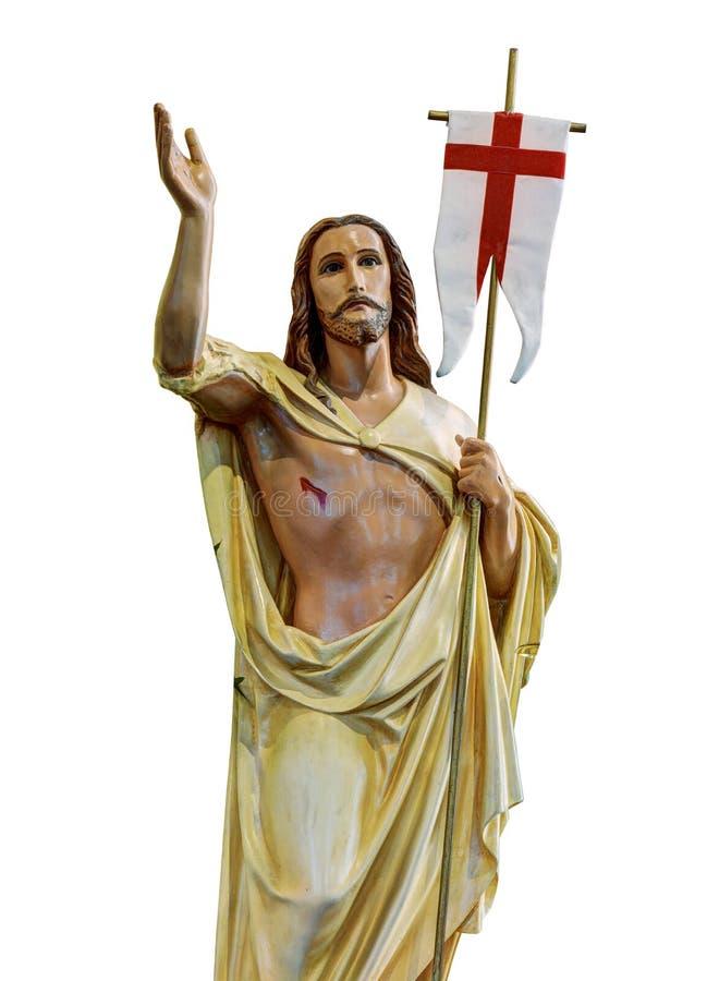 Wzrastający Chrystus z sztandarem odizolowywającym na białym tle obraz royalty free