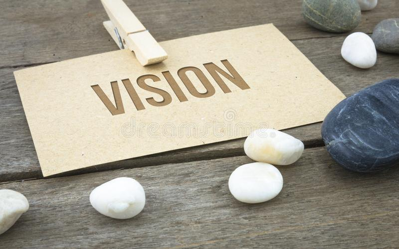 Wzrok, biznesowi konceptualni słowa z drewnianym tłem z brown papieru prześcieradłami lub notatka, zdjęcie stock