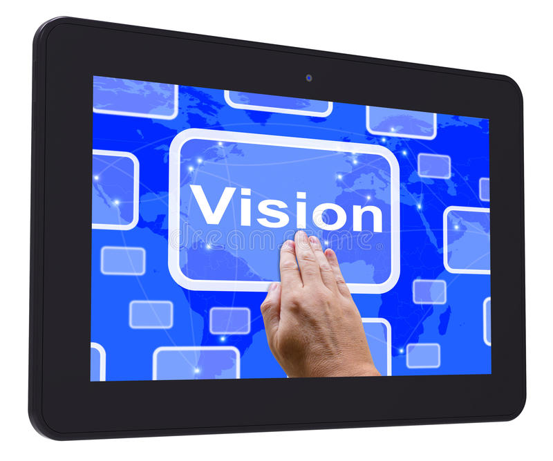 Wzrok pastylki dotyka ekran Pokazuje pojęcie pomysł Lub strategię royalty ilustracja