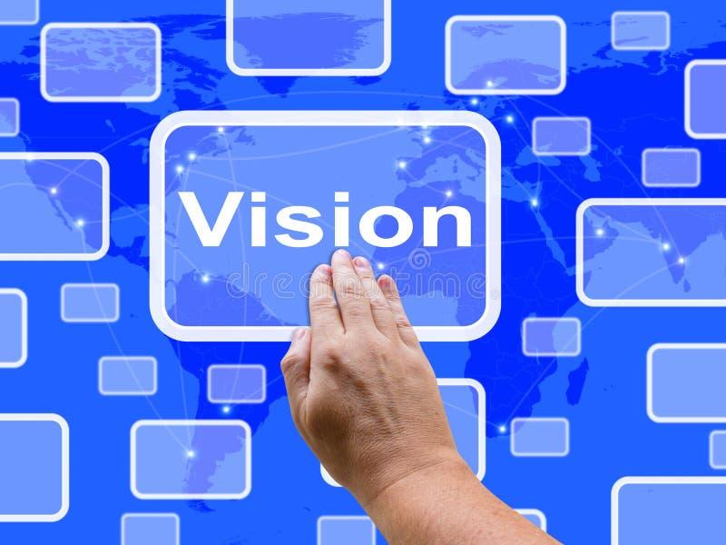 Wzroku dotyka ekran Pokazuje pojęcie strategię ilustracja wektor