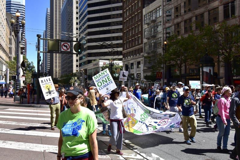 Wzrost dla klimatu, pracy, sprawiedliwość; San Fransisco, 1 obraz stock