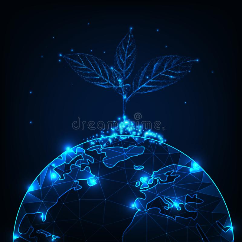 Wzrost i rozwój pojęcie z rozjarzoną niską poligonalną rośliny flancą zasadzającą na planety ziemi ilustracja wektor