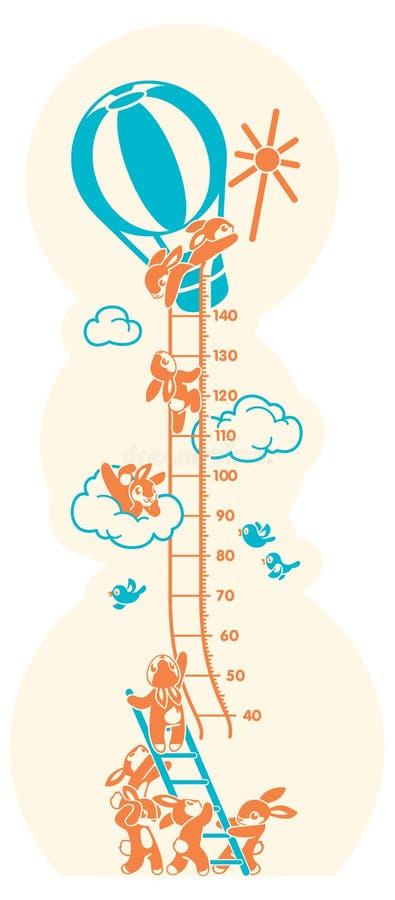 Wzrost mapy Sunbeams, metr ściana lub wzrosta metr od 40 140 centymetrów, ilustracja wektor