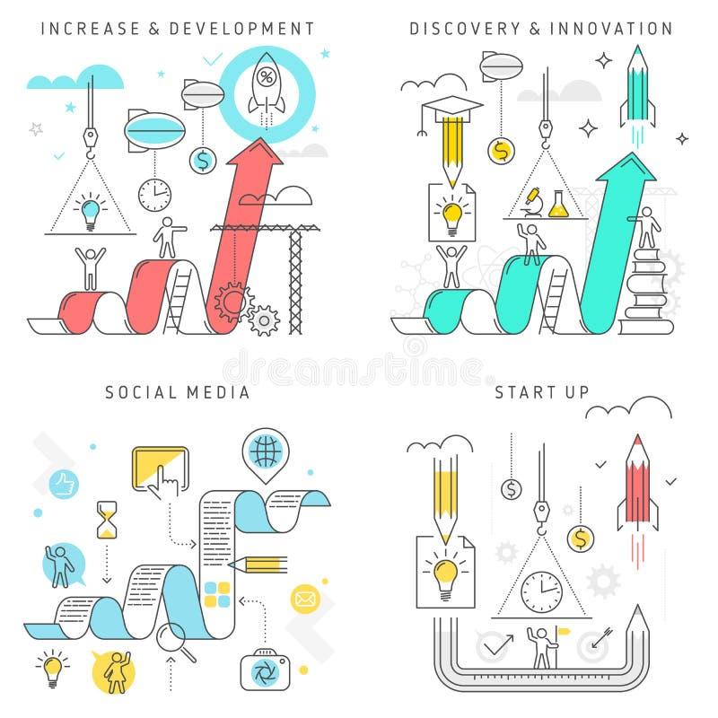 Wzrost, rozwój, odkrycie i innowacja, socjalny ilustracji