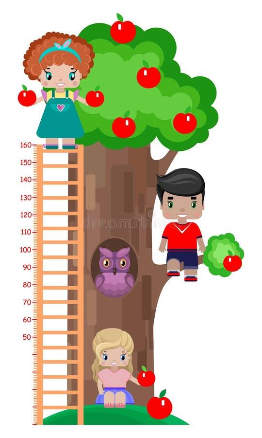 Wzrosta metr dla dzieci, z jabłonią, dzieci chłopiec i dwa dziewczyny pod drzewem na drzewie różny przyrost i, ilustracja wektor