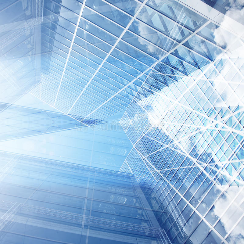 Wzrosta szklany nowożytny budynek z niebieskim niebem i chmurą przy światłem dziennym ilustracji