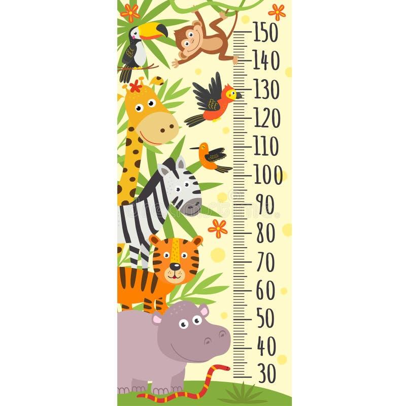 Wzrostowa miara z dżungli zwierzętami royalty ilustracja
