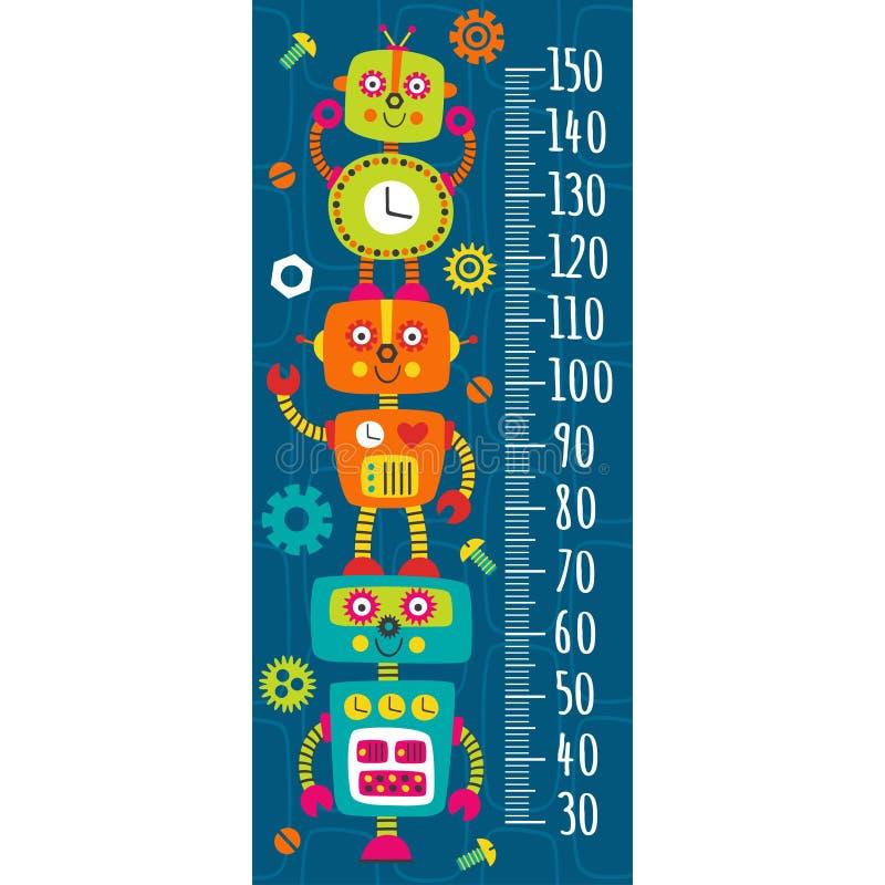 Wzrostowa miara z kolorowymi robotami ilustracja wektor