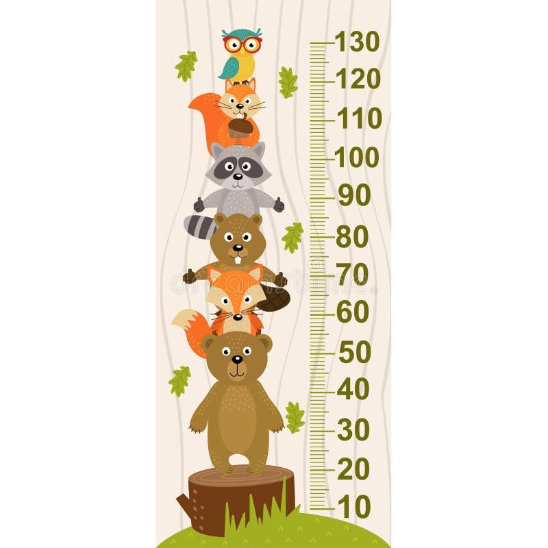 Wzrostowa miara z lasowym zwierzęciem royalty ilustracja