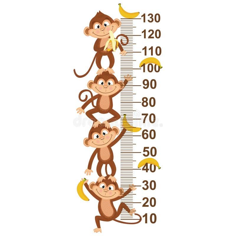 Wzrostowa miara z małpą ilustracji