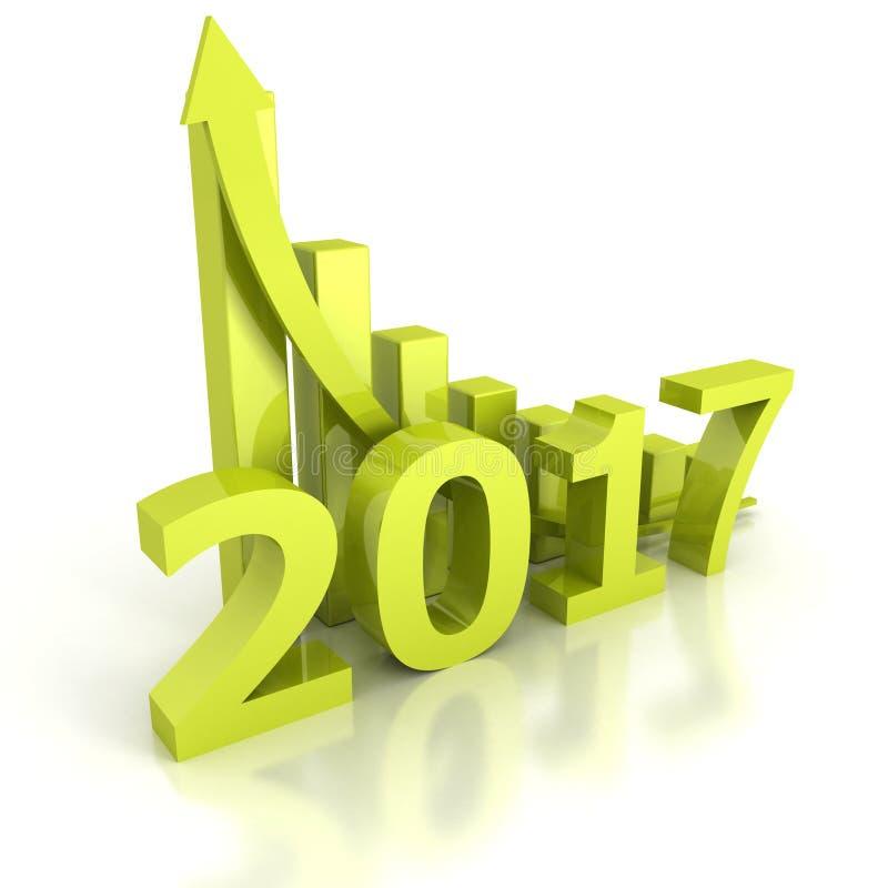 Wzrostowa prętowa mapa 2017 nowy rok z powstającą strzała royalty ilustracja