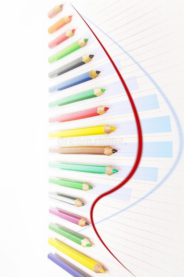 Wzrostowa wykres mapa tworząca od barwionych ołówków obrazy stock
