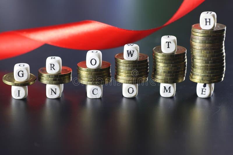 Wzrostowy dochodu teksta list zdjęcia stock