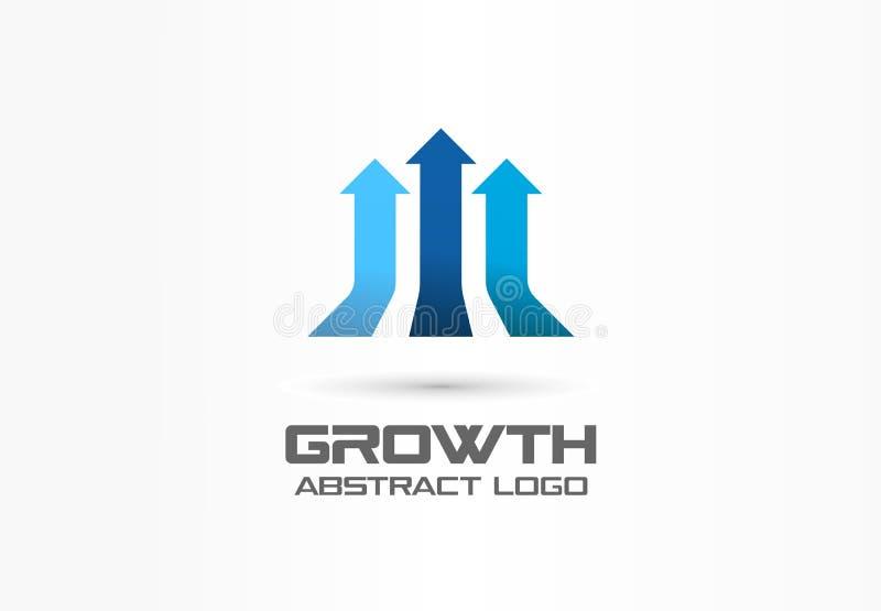 Wzrostowy kreatywnie symbolu pojęcie Przywódctwo, zysk, r w górę 3d strzał abstrakcjonistycznego biznesowego logo Lider władza, p royalty ilustracja