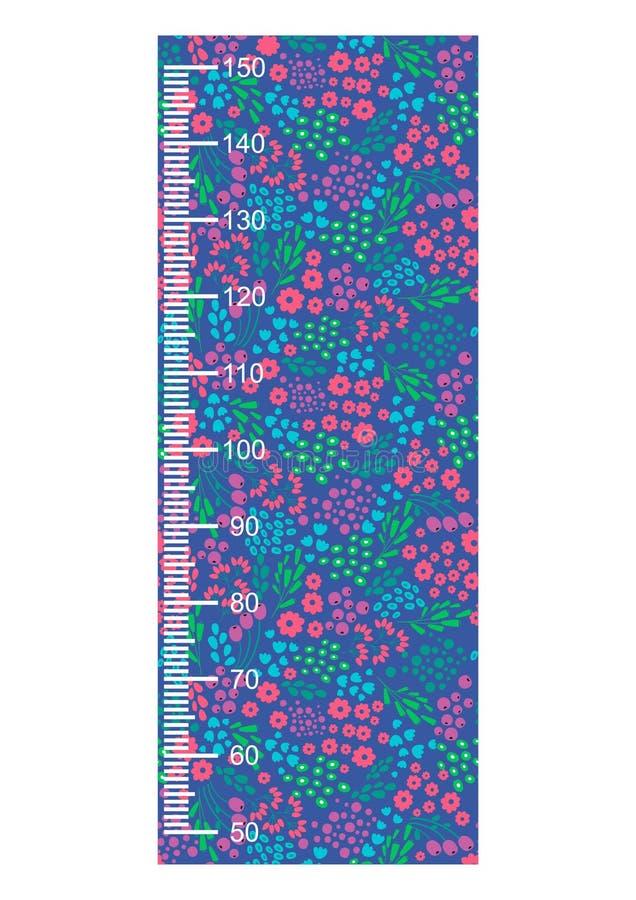 Wzrostowy metr, kwiatu wzór, dziecka ` s wzrosta pomiar ilustracja wektor