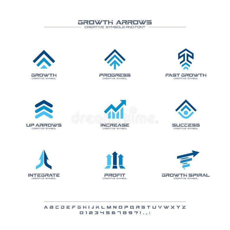 Wzrostowych strzał kreatywnie symbole ustawiają, chrzcielnicy pojęcie Finansowy zysk, bank, rynek papierów wartościowych abstrakc ilustracji