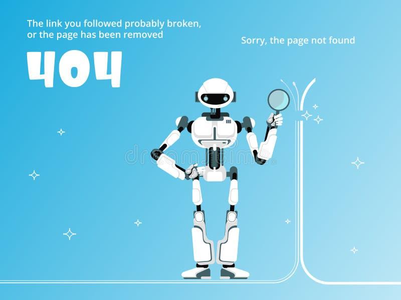 Wzywa znajdujący lub 404 błędów szablonie z robota wektorem ilustracja wektor