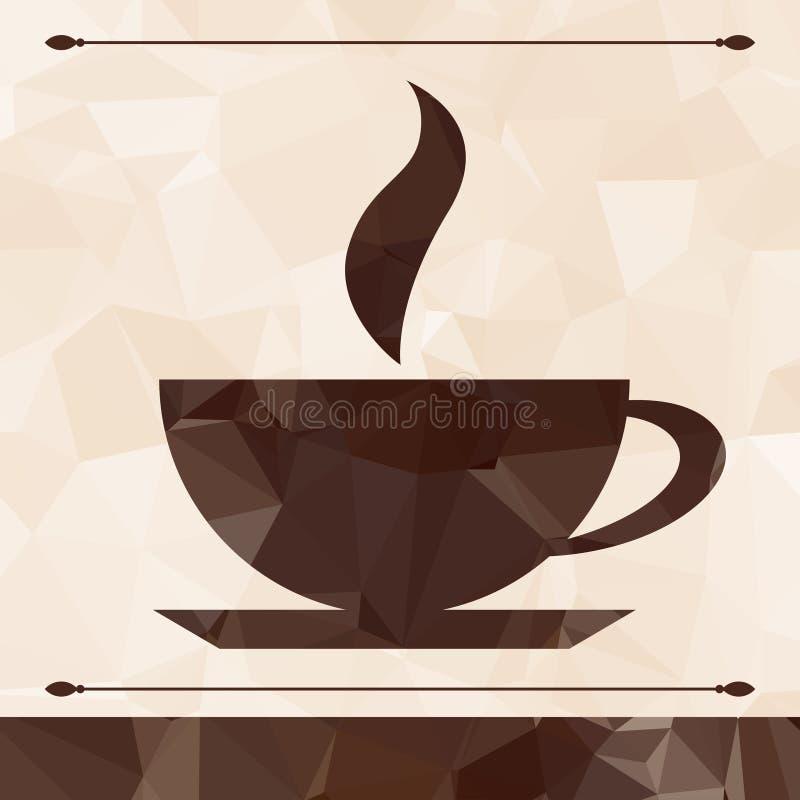 Xícara de café abstrata em um fundo geométrico ilustração stock