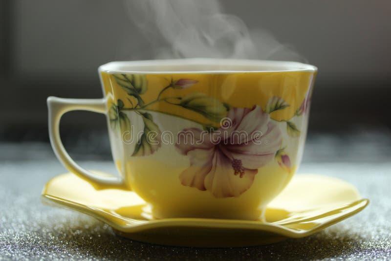 Xícara de café aromática e quente bonita com os pires perto da janela cedo na manhã fotografia de stock royalty free