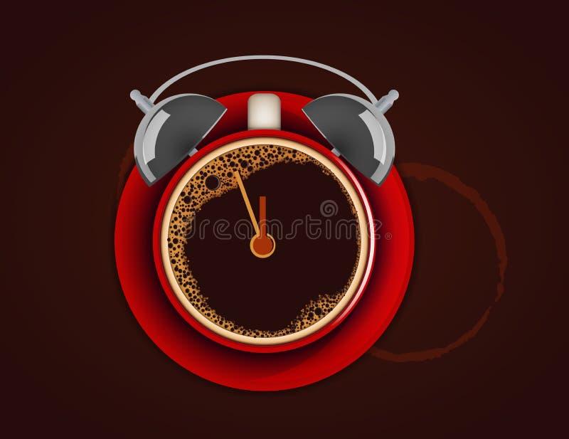 Xícara de café com despertador. Acorde! Hora para o café. ilustração do vetor