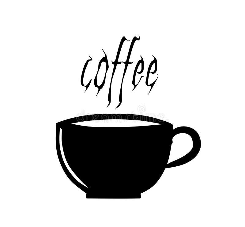 Xícara de café com palavras. ilustração do vetor