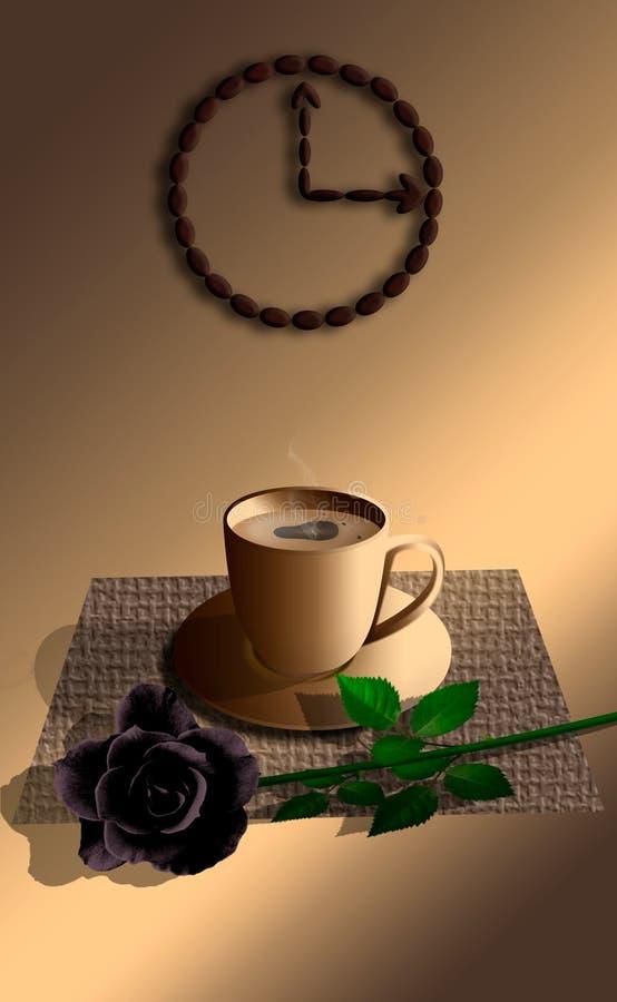 Xícara de café com rosa do preto ilustração stock