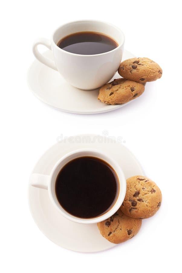 Xícara de café e composição das cookies fotografia de stock royalty free