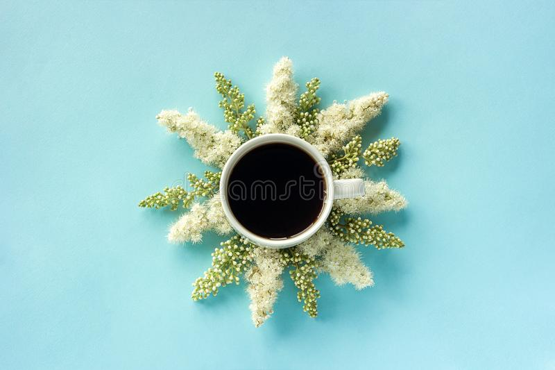 Xícara de café e flores brancas de florescência do galho no bom dia colocado plano de papel azul do conceito da opinião superior  imagens de stock royalty free