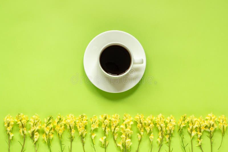 Xícara de café e Linaria amarelo das flores selvagens da fileira no bom dia colocado plano de papel verde do conceito da opinião  foto de stock