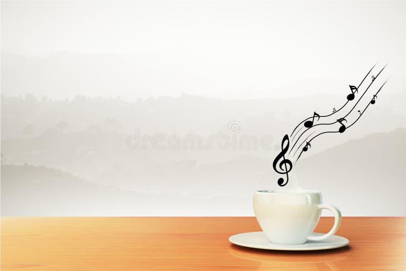 Xícara de café e notas musicais imagem de stock