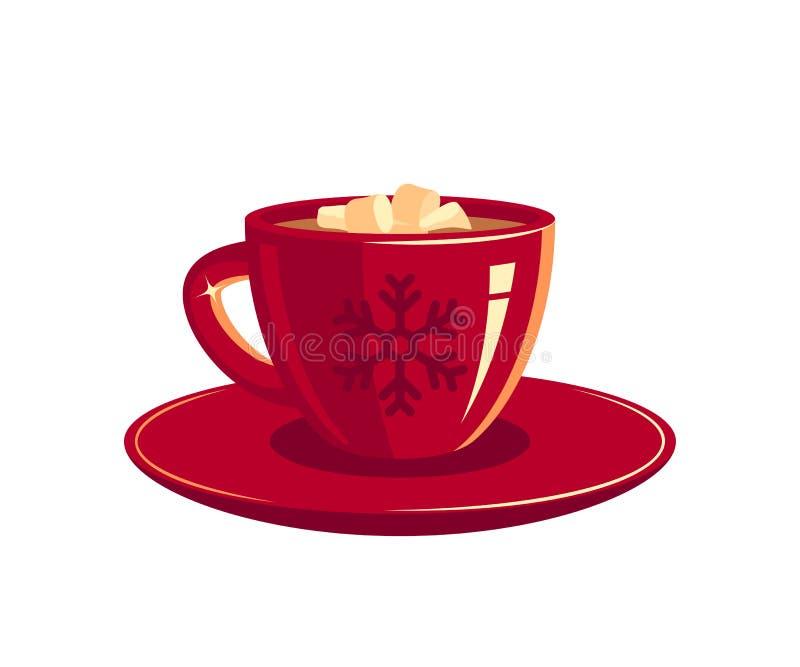 X?cara de caf? ou chocolate vermelho, vetor ilustração royalty free