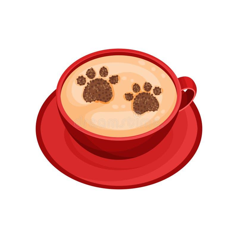 Xícara de café vermelha com arte do latte na forma das pegadas animais Cappuccino com pó da canela na espuma Vetor liso ilustração stock