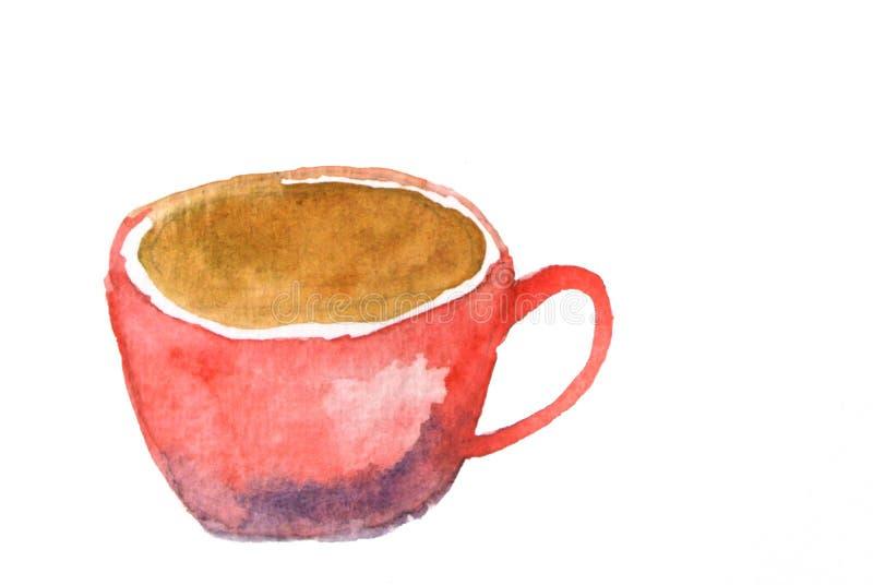 Xícara de café vermelha, ilustrador da aquarela ilustração stock