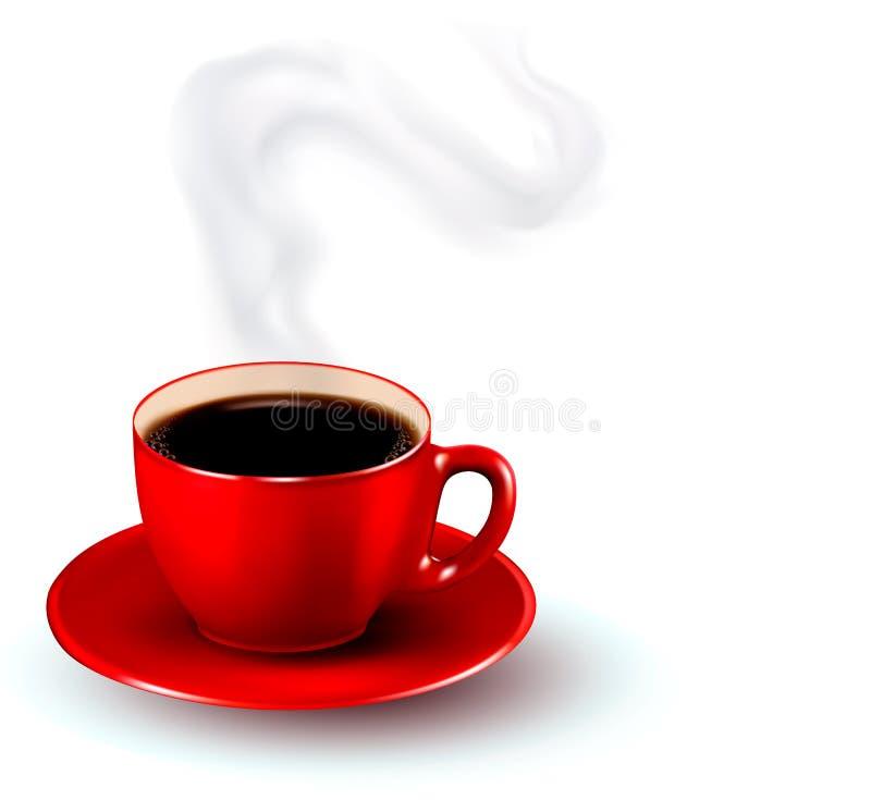 Xícara de café vermelha perfeita com vapor. ilustração stock
