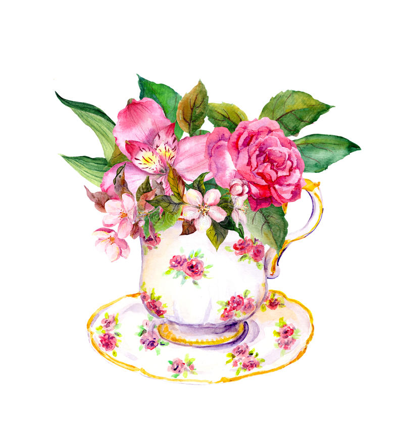 A xícara de chá do vintage com aumentou, flores cor-de-rosa Aquarela do tea party ilustração stock