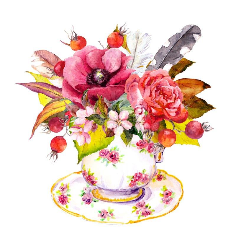 Xícara de chá - folhas de outono, flores cor-de-rosa, bagas, penas do vintage watercolor ilustração stock