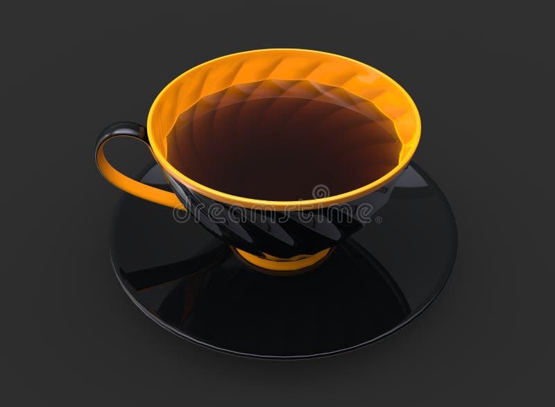 Xícara de chá - xícara preta com o interior amarelo e detalhes ilustração do vetor