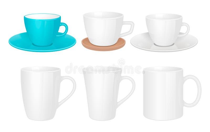 Xícaras brancos Coleção de mug isolada fotos de stock