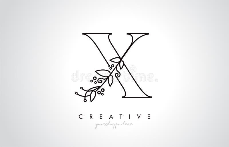 X与有机组合图案厂叶子细节和圈子设计的信件商标 创造性的信件象 向量例证