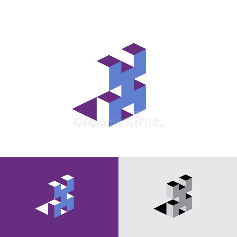 x信件等量商标 等量印刷X组合图案当立方体修造 向量例证