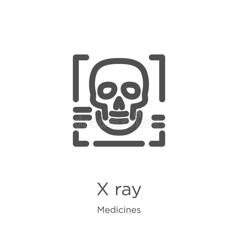 x光芒从医学汇集的象传染媒介 稀薄的线x光芒概述象传染媒介例证 概述,稀薄的线x光芒象为 库存例证