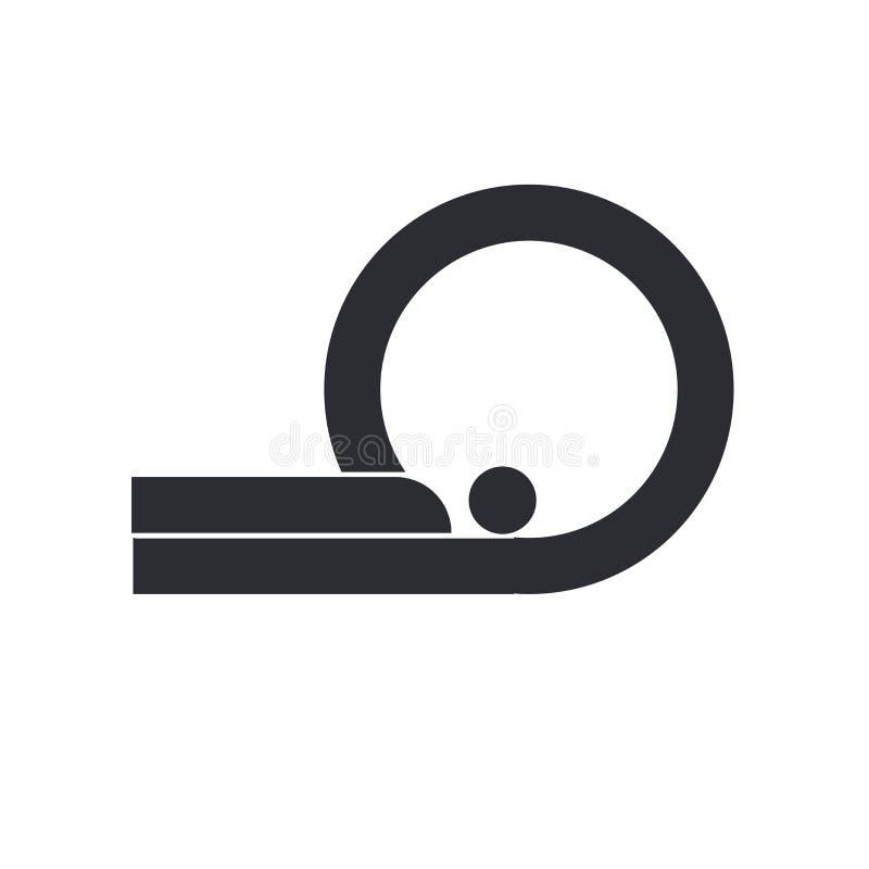 X线体层照相术象在白色背景和标志隔绝的传染媒介标志,X线体层照相术商标概念 库存例证