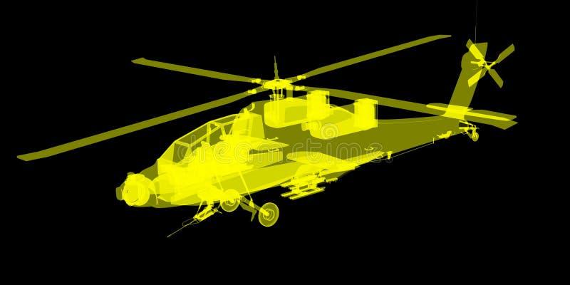X- εικόνα ακτίνων ή ακτίνας X του ελικοπτέρου Apache διανυσματική απεικόνιση
