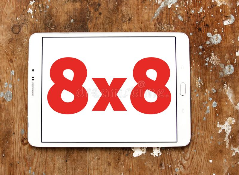 8x8 λογότυπο επιχείρησης επικοινωνιών σύννεφων στοκ εικόνες