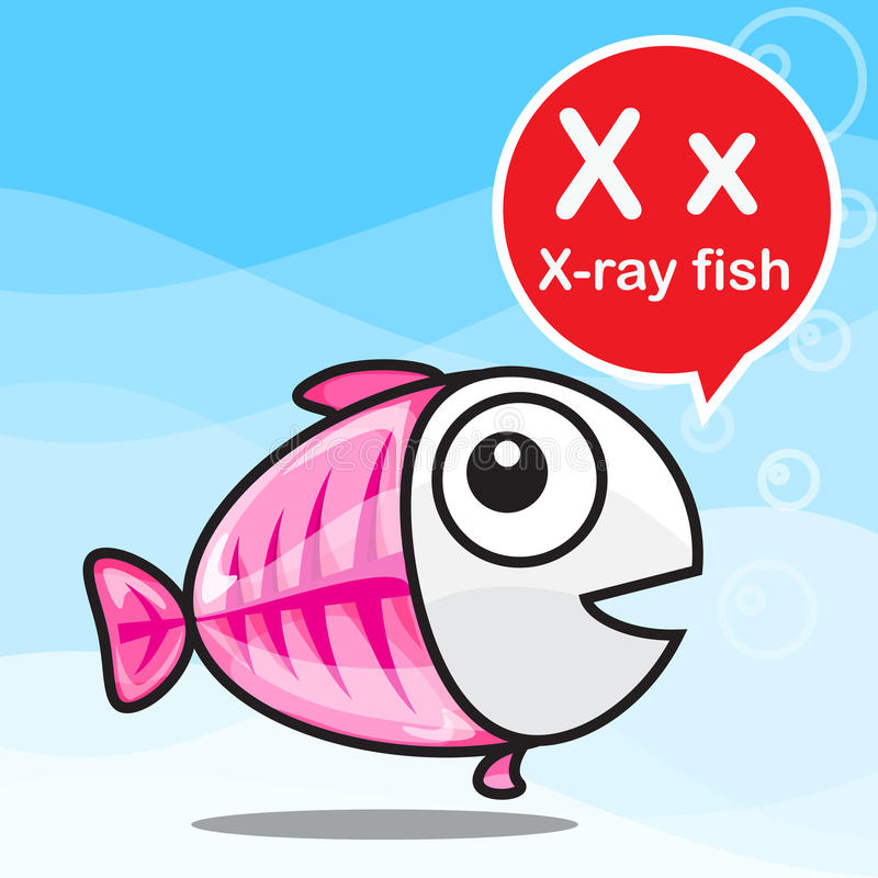 x X-射线鱼上色动画片和字母表孩子的对学会 皇族释放例证