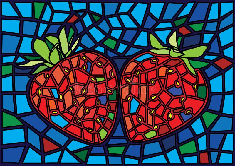 A4_8Strawberry red fruit moses Stained glass illustration  royalty free illustration