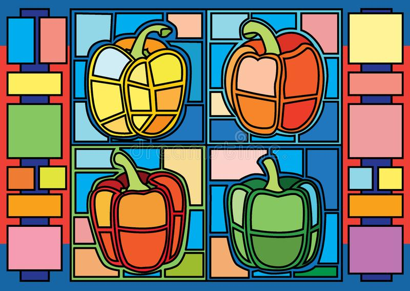 Bell pepper moses stained glass and is a mosaic glass that is used to decorate a picture of a window door royalty free illustration