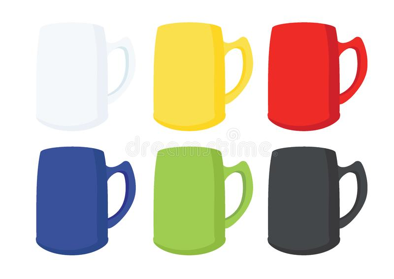 Many coffee cups Multi color White yellow red blue green black vector illustration