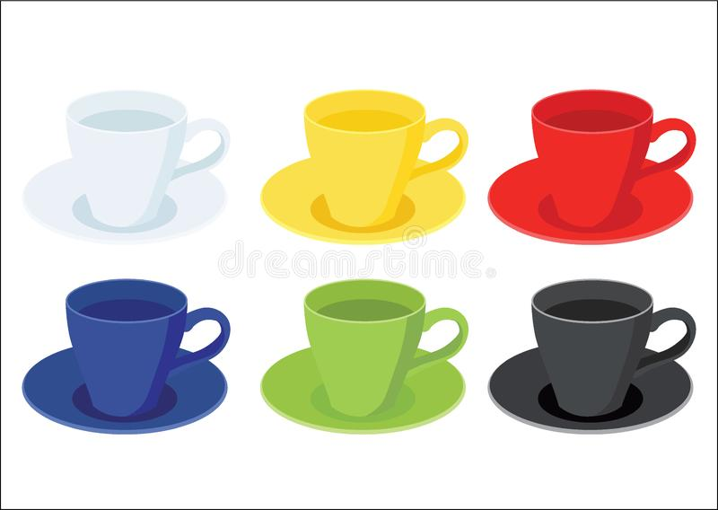Coffee cup on saucer and Many coffee cups Multi color White yellow red blue green black royalty free illustration